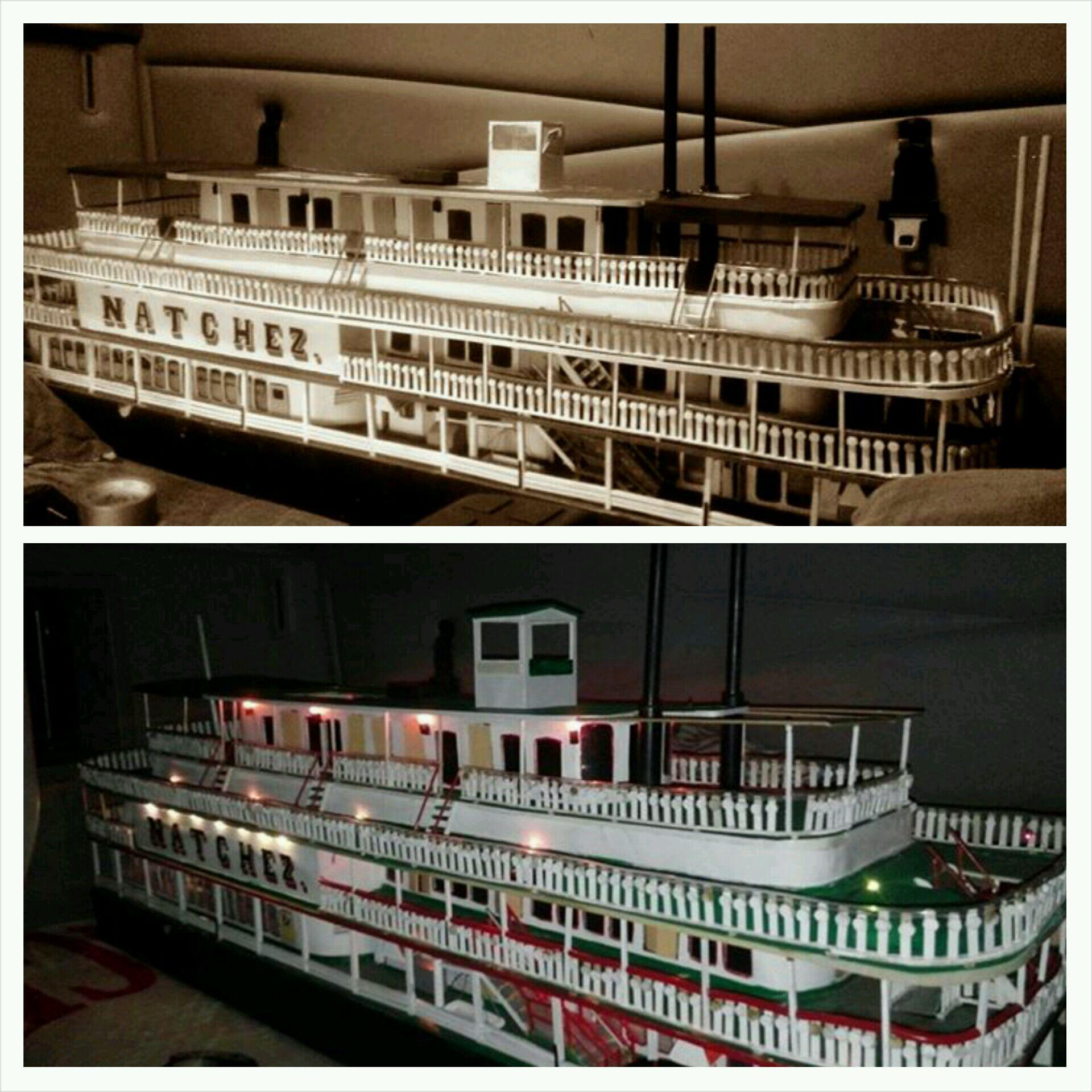 Brian-Metthews-carved-wooden-Steamer-Natchez. 43 lights and 6.5 ft long