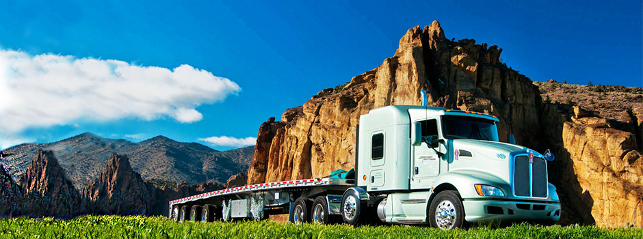 semi-truck mountain background