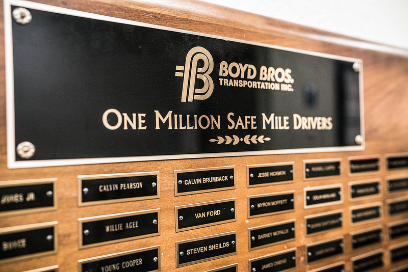 This plaque that honors Boyd Brothers drivers with 1 million safe miles under their belts hangs on the wall at the Boyd Brothers headquarters in Clayton, Alabama, and features the names of one out of every seven Boyd Brothers drivers.