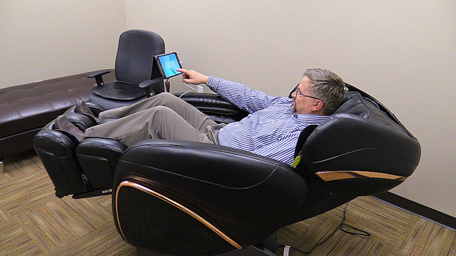 Drivers at Smokey Point Distributing appreciate the new home terminal's massage chair, complete with sound system.