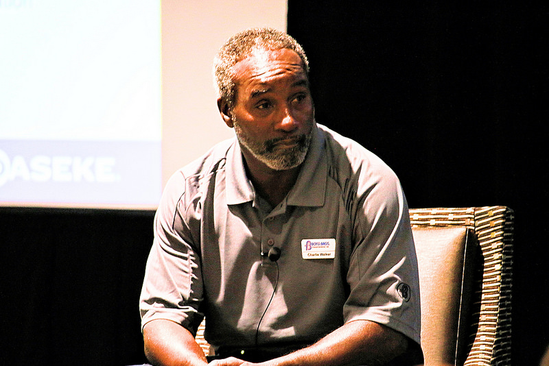 Charlie Walker, a Boyd Bros. driver with 3 million safe miles, speaks to open-deck shippers during a driver panel discussion in October of 2016 at the fourth annual Daseke Shippers' Conference in Birmingham, Alabama.