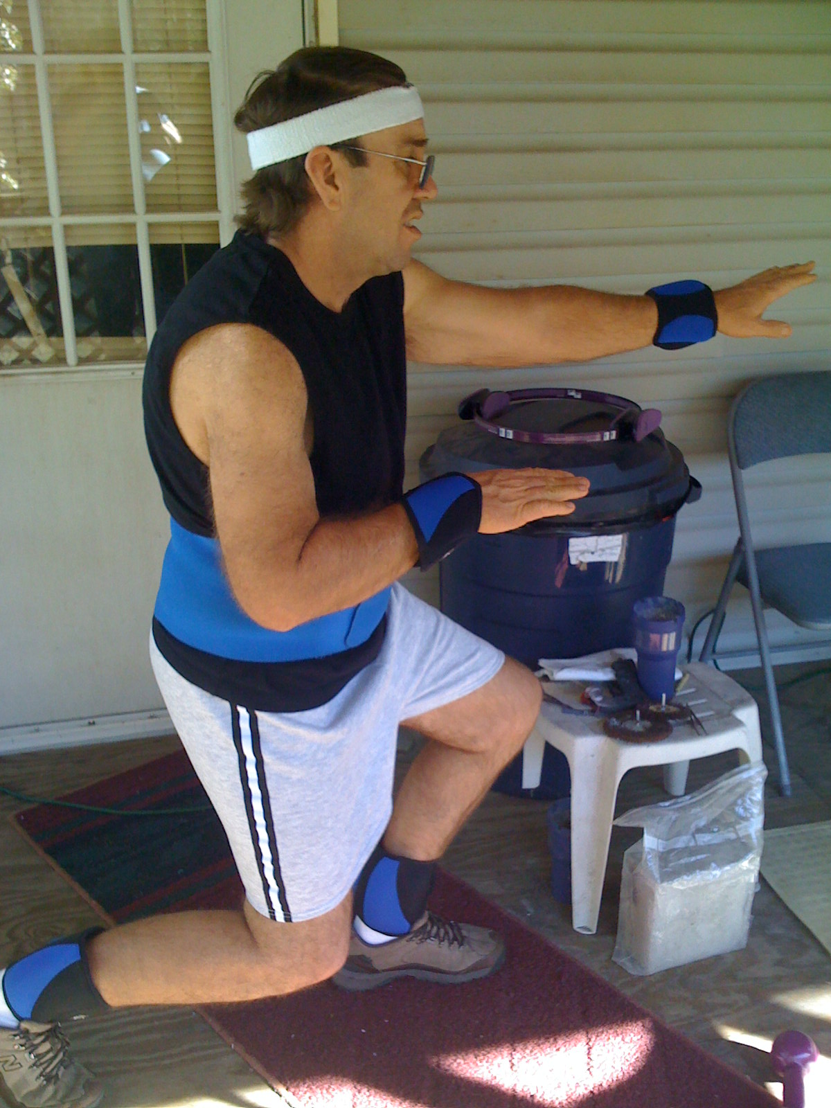 James uses wrist and ankle weights in an effort to maintain and improve strength. James says during his weight loss he had to include strength training to maintain muscle mass.