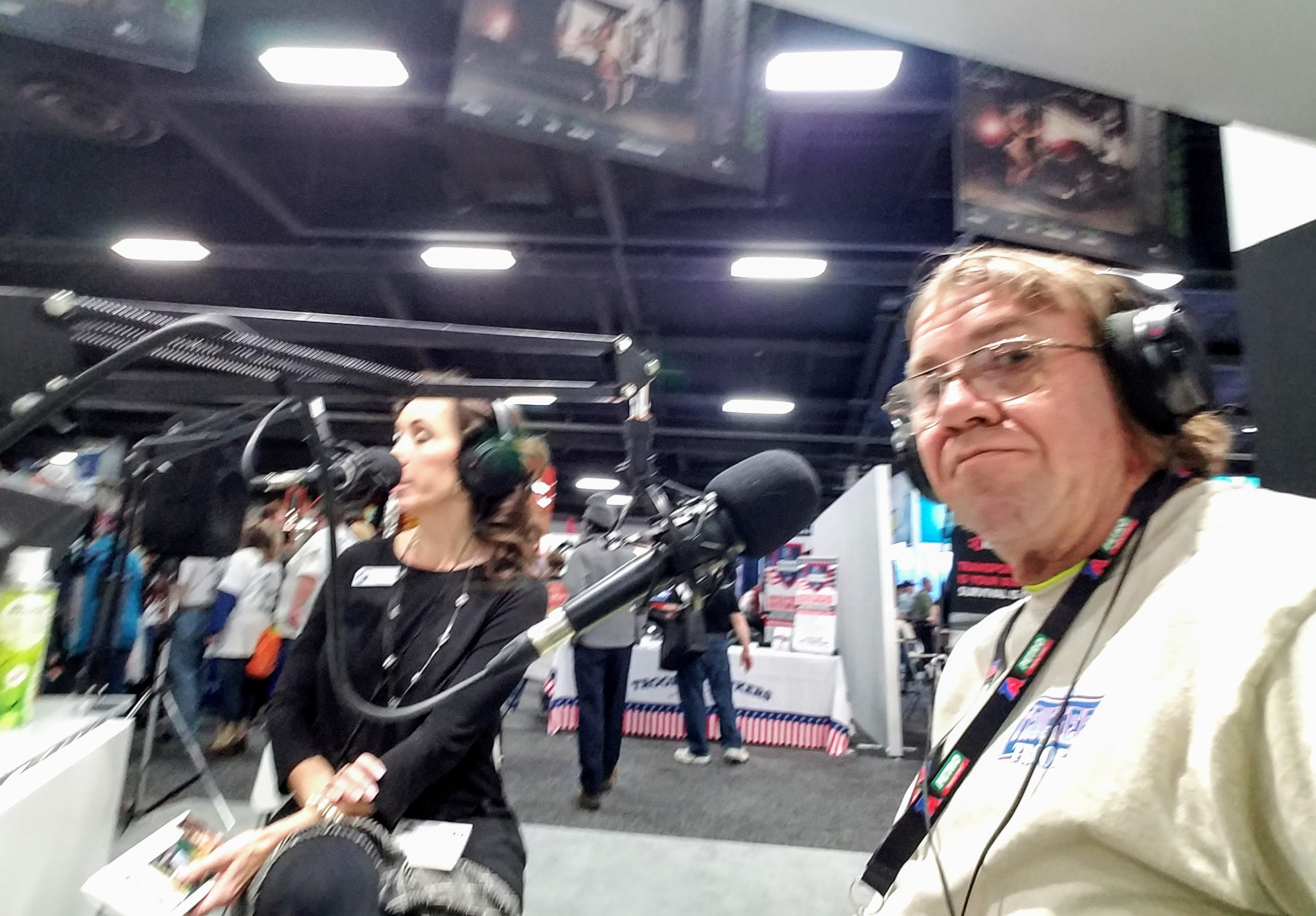 James takes a selfie as he and Julie Dillon, St. Christopher Truckers Development and Relief Fund's communications and wellness manager, are interviewed on the Hillbilly Express Radio Show during the 2017 Mid-America Trucking Show in Louisville, Kentucky.