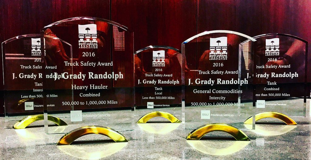 J. Grady Randolph displays its haul of annual safety awards in five categories from the South Carolina Trucking Association (SCTA).