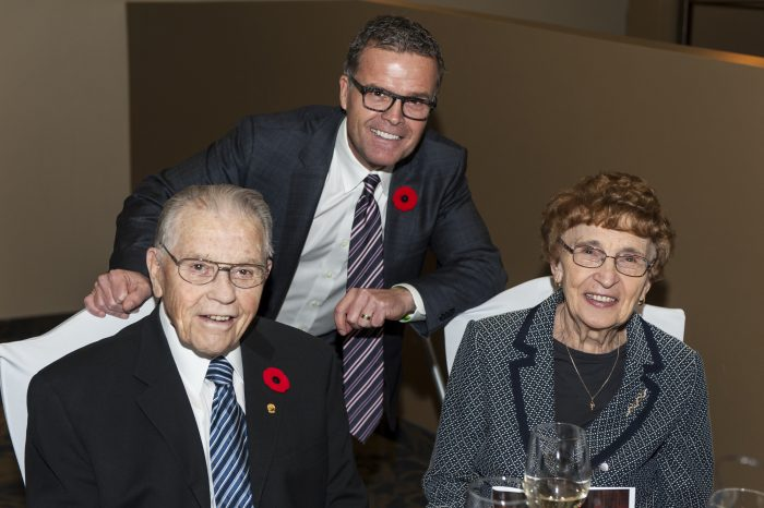 Gary Colman and his folks, Red and Norma, at the Manitoba Trucking Association banquet 2017.