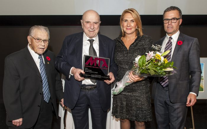 This year's winners of the Red Coleman Service to Industry Award (From left to right: Red – Louie Tolaini – Shelly Tolaini – Gary Coleman). Louie is owner of TransX Group in Winnipeg.